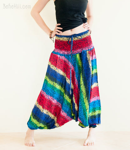 Yoga Pants - Rainbow Bohemian Pants Low Crotch Harem Trousers (No.3)