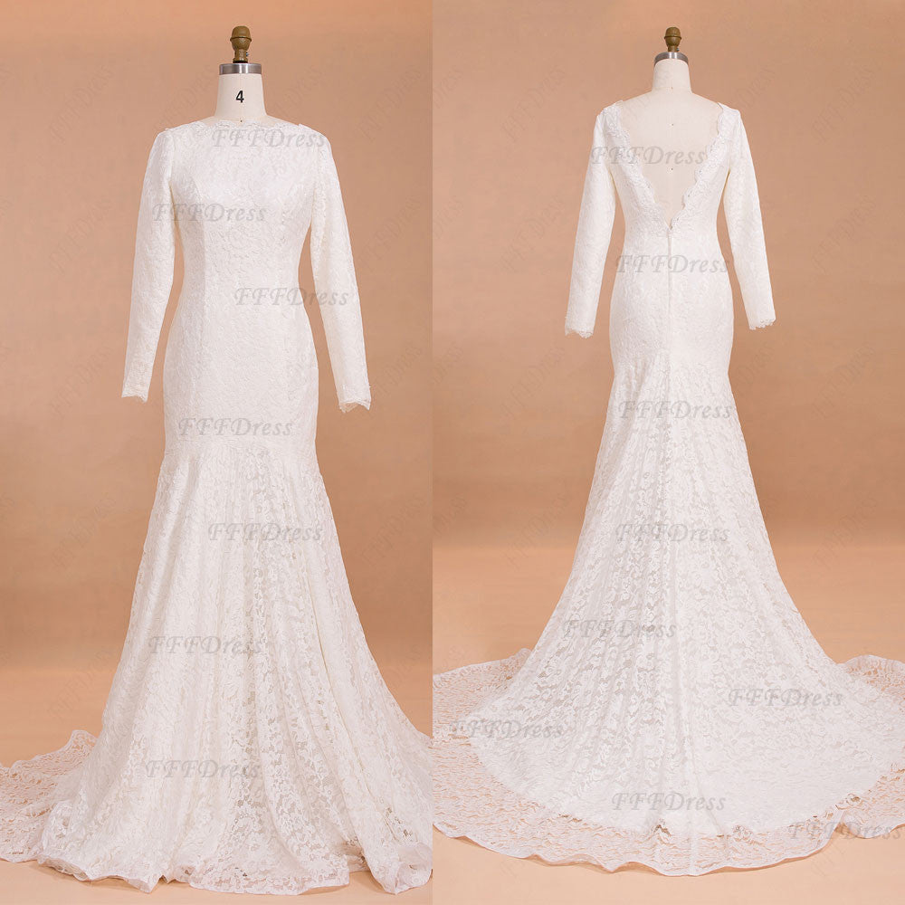 Backless Trumpet Lace Wedding Dresses with Long Sleeves