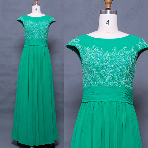 Green modest prom dresses long with cao sleeves