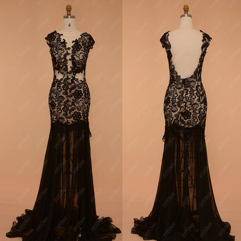 Black lace backless prom dresses with slit