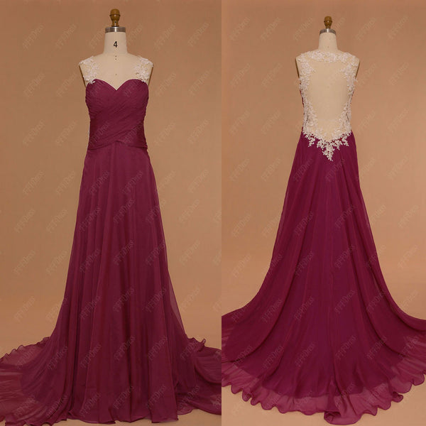 Berry color backless prom dresses long with beaded white lace