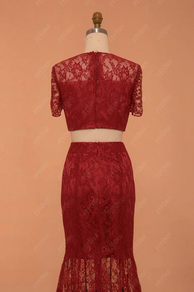 burgundy lace prom dress long