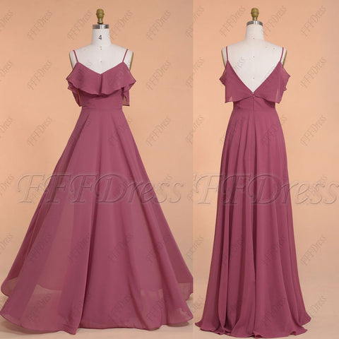Boho maroon color bridesmaid dresses spaghetti straps