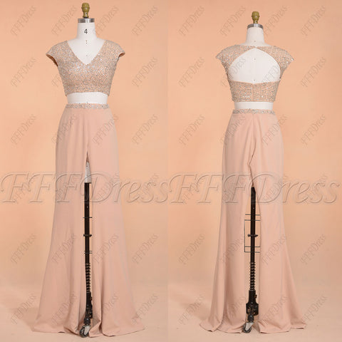 Beaded two piece pants suit prom dress long