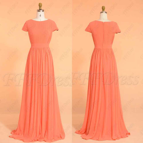 Coral modest long prom dress with sleeves