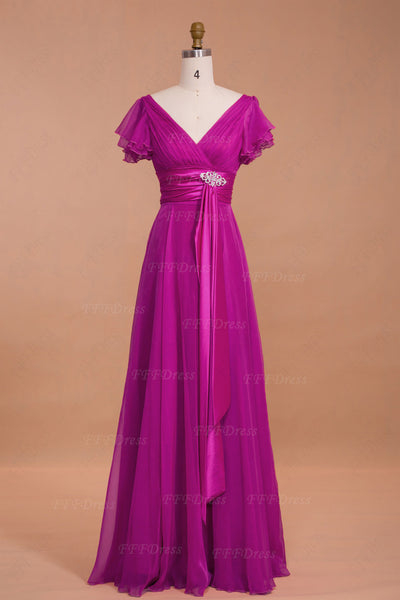 Modest Magenta Mother of the Bride Dresses with Sleeves