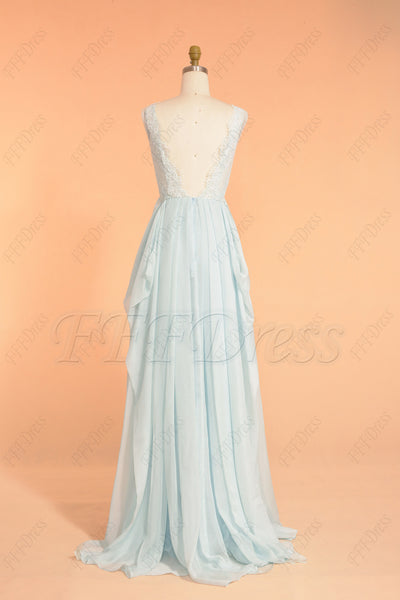 Light blue backless long prom dress