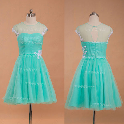 Mint green short prom dress with white lace
