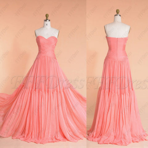 Coral boho bridesmaid dresses long prom dresses