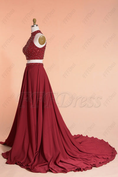 Beaded burgundy two piece long prom dresses with slit