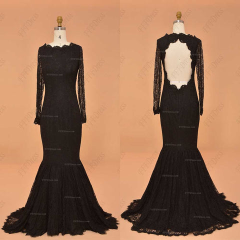 Black Lace mermaid backless prom dresses long sleeves evening dresses