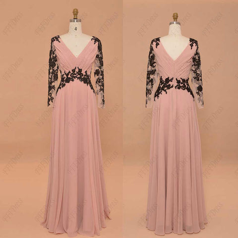 Blush modest prom dress long sleeves pageant dress with sparkly sequin black lace formal dress