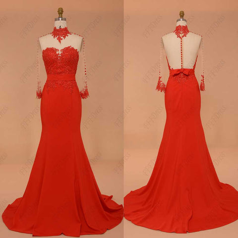 Backless mermaid red prom dress long sleeves