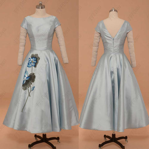 Ice blue vintage prom dress with embroidery homecoming dresses with sleeves