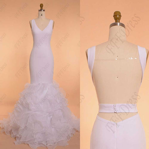 Backless white mermaid ruffled prom dress long pageant dresses