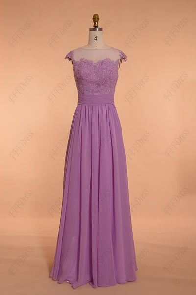 Orchid modest long prom dresses