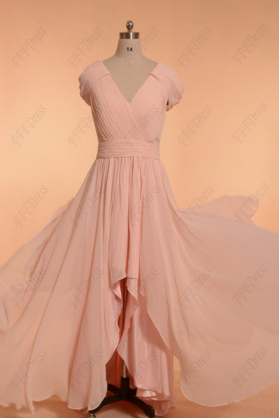 High low modest pink bridesmaid dress with sleeves prom dresses
