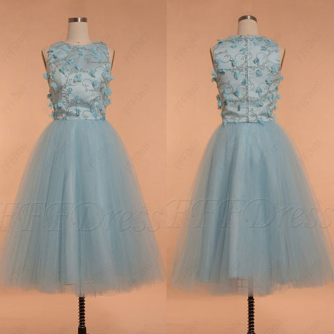Light blue homecoming dresses with flowers and embroidery tea length prom dress