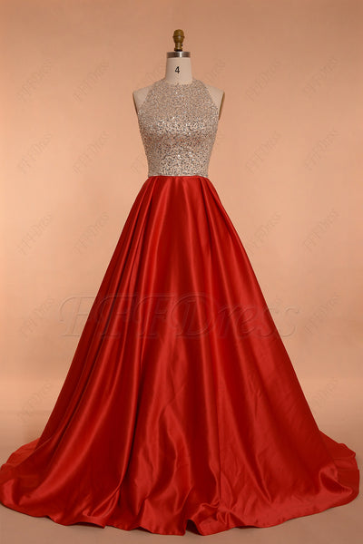 Sparkly Ball Gown red prom dresses long halter prom gown