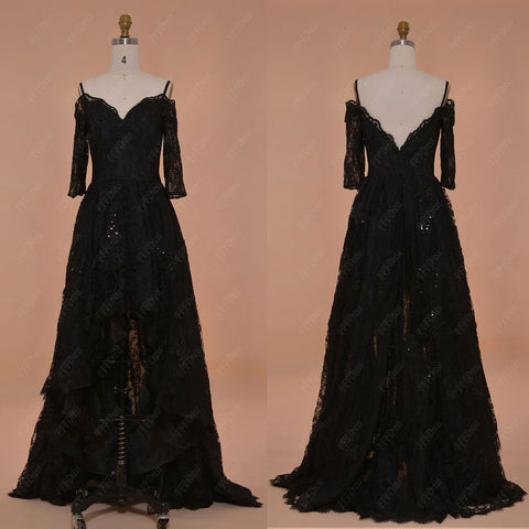 Black high low Sparkly prom dresses with sleeves off the shoulder