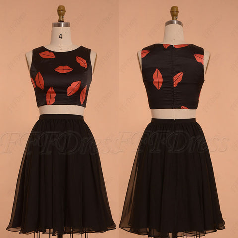 Lips printed black two piece prom dresses short