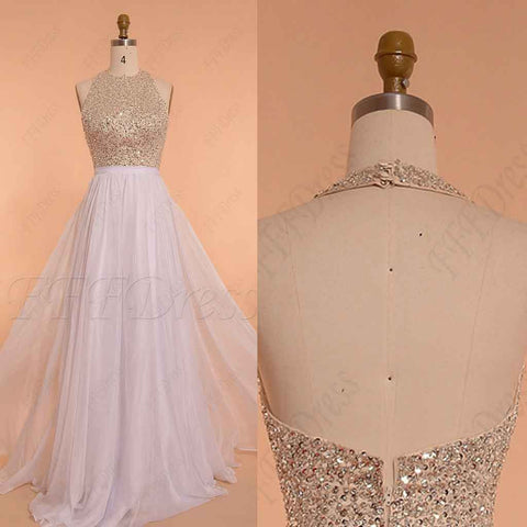 Beaded halter white prom dresses long