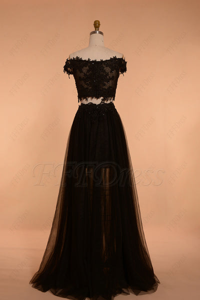 Black off the shoulder two piece prom dresses