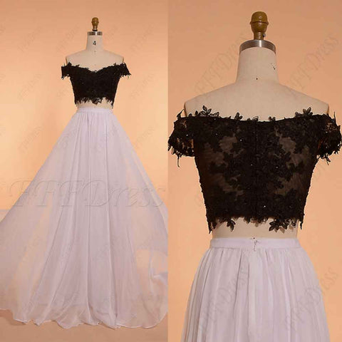Black and White Off the Shoulder Long Prom Dresses