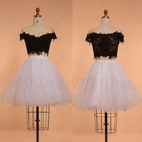 Black and white homecoming dresses Two Piece