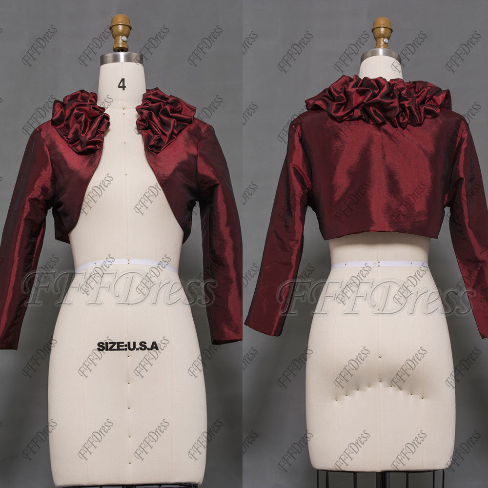 Burgundy bolero for evening dress formal gown jacket