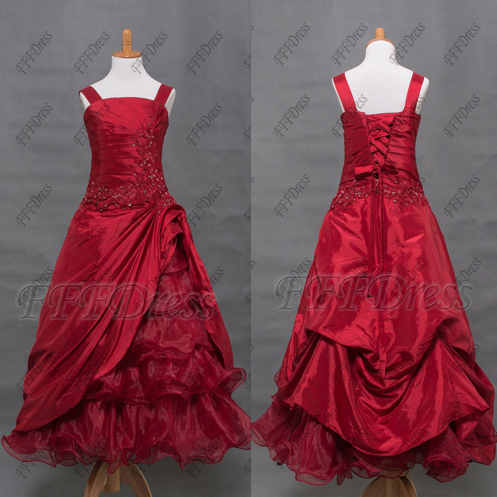 Burgundy tiered ball gown flower girl dresses