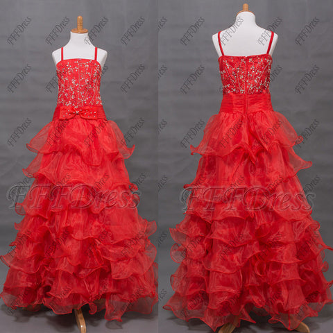 Beaded red flower girl dresses