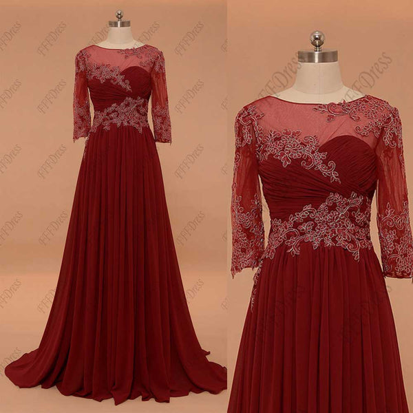 Burgundy modest mother of the bride dress with sleeves