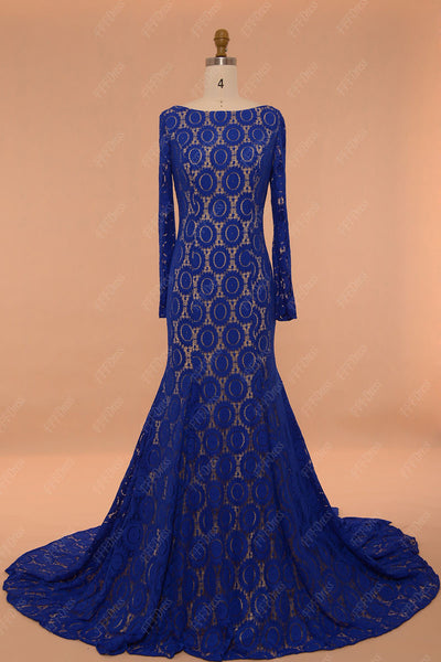 Backless prom dresses long sleeves mermaid royal blue lace pageant dress