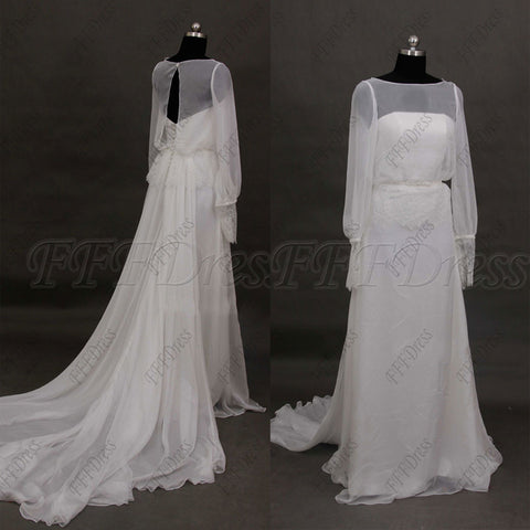 Chiffon beach wedding dresses long sleeves Grecian wedding dress