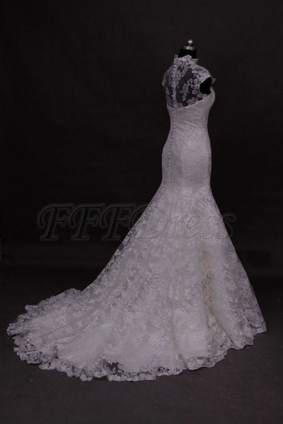 Mermaid modest lace wedding dress