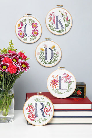 A is for Anemone Embroidery Kit by Miniature Rhino