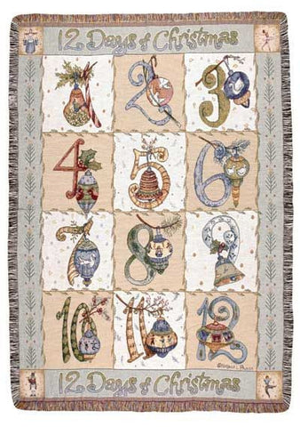12 Days Of Christmas Full Size Tapestry Throw