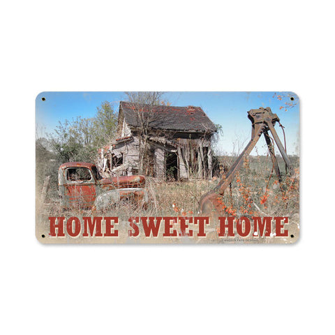 Home Sweet Home Metal Sign Wall Decor 14 x 8