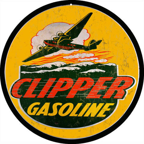 Vintage Clipper Gasoline Sign Round 14