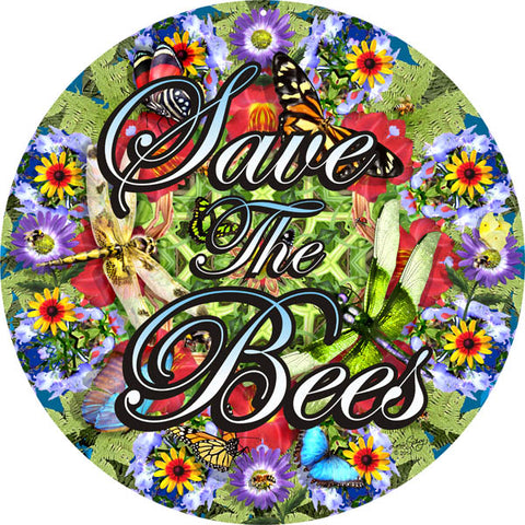Save The Bees Sign 14 Round