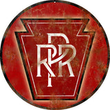 Vintage PRR Railroad Sign 14 Round
