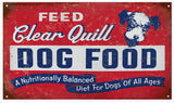 Vintage Clear Quill Dog Food Sign 8x14