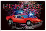 Red Fire Pantera Hot Rod Garage Sign 16x24