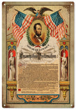 Vintage Abraham Lincoln Emancipation Proclamation Sign