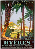 Hyeres Palm Beach Resort Travel Poster Wood Sign 18x24 (46cm x 61cm) Planked