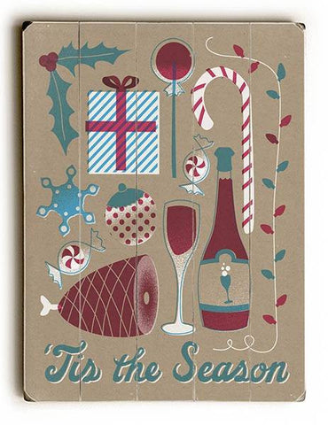 'Tis the Season Wood Sign 14x20 (36cm x 51cm) Planked