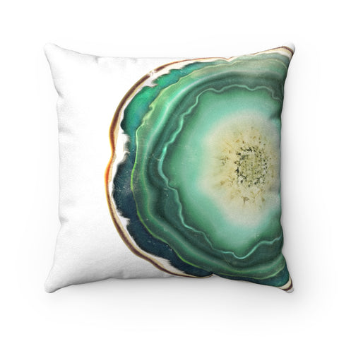 Green Agate Slice Print Faux Suede Square Pillow, 3 Sizes