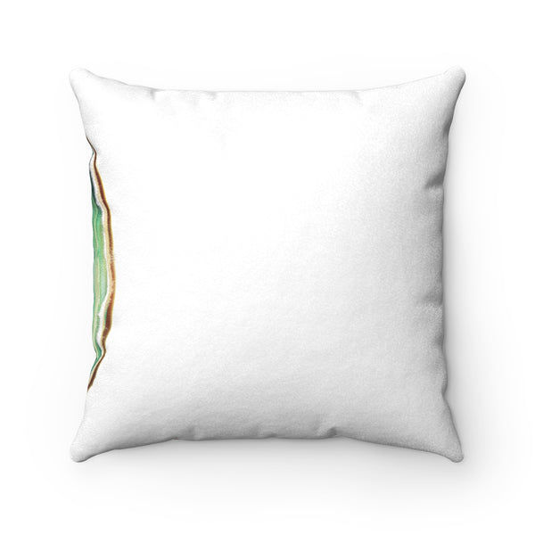 Green Agate Slice Print Faux Suede Square Pillows