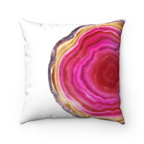 Fuchsia Agate Slice Print Faux Suede Square Pillow, 3 Sizes
